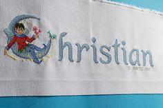 Nombre bordado en punto de cruz para cuadro (Christian)
