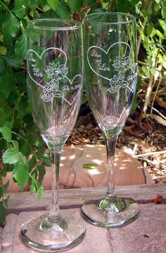 Sunflower Hearts Toasting Wedding Champagne Glass by artZengraving, $24.00