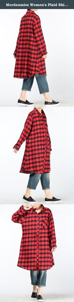 "Mordenmiss Women's Plaid Shirt Dress Summer/Fall Blouses Style 4-L-Burgundy. Mordenmiss has registered US Trademark ""Mordenmiss"" . This item is only provided by Mordenmiss, and did not authorize any second stores to sell our items. If other seller follow selling our items, please kindly notice us or report to Amazon directly. Mordenmiss only gurantee our quality, we do not guarantee the quality of other sellers. Size Information Style 1: Size L:..."