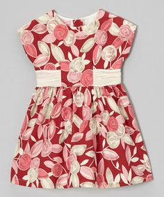 Little girls are the absolute picture of perfection in a fancy frock. A bold floral print and sweet ruched sash bring home the style, while washability keeps things practical.