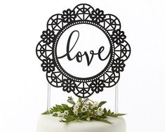 Love Wedding Cake Topper Black Script от CouplesOnCakes на Etsy