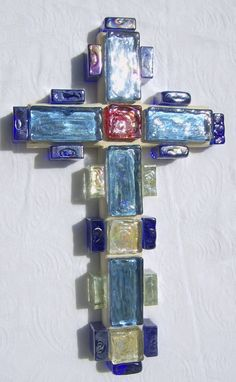Blue Glass Square Bead Wooden Cross