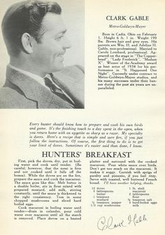 "Clark Gable's Hunter's Breakfast From the Book ""What Actors Eat When They Eat."" (billcappelo.blogspot.com)"