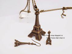 Ellys Shop: Set colier si cercei turn Eiffel Decorative Bells, Handmade, Shopping, Hand Made, Handarbeit