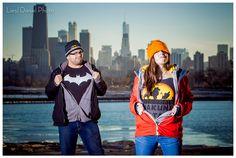 batman lion king simba hakuna matata chicago engagement session liesl diesel photo montrose harbor skyline winter holiday portrait