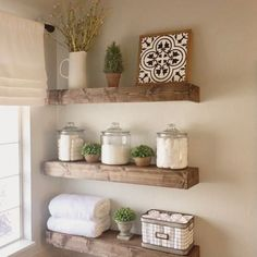 39 DIY Floating Shelves Bathroom Decor You Must Have is part of Bathroom shelf decor If you would like the strong appearance of metal in your bathroom, have a look at our train racks made […] - Bathroom Shelf Decor, Floating Shelves Bathroom, Bathroom Interior, Bathroom Organization, Decorating Bathroom Shelves, Rustic Bathroom Shelves, Bathroom Shelves Over Toilet, Rustic Floating Shelves, Ikea Bathroom