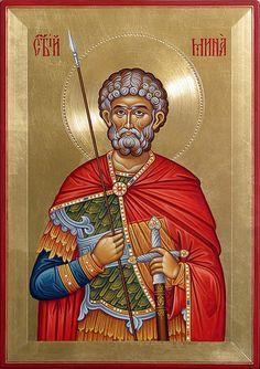 Св. Мина | 40/28 см | Mario Milev | Flickr Byzantine Icons, Orthodox Icons, Style Icons, Worship, Christianity, War, Painting, Angels, Saints