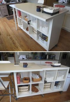 IKEA hacks  : marble table   Shelve-seat   Shelve-on-wheels extendable kitchen island etc