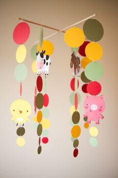 Farm Animals Mobile – cute for a baby shower party-crafts
