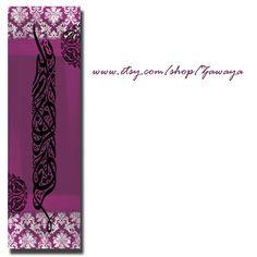 Canvas wall art purple black white shades decor arabic by Zawaya