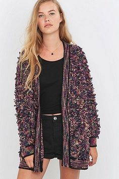 Staring at Stars Frizzy Purple Cardigan