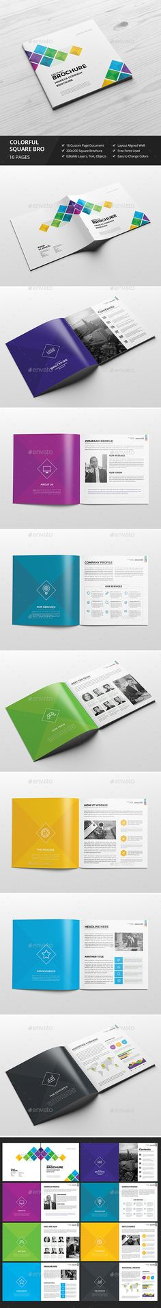 Haweya Colorful Square Brochure Template PSD
