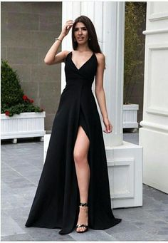 A-Line V-Neck Satin Long Prom Dress with Split Dark Green Evening Dress - Even Tutorial and Ideas Prom Dresses Under 100, Dresses To Wear To A Wedding, Black Prom Dresses, Gala Dresses, Cheap Prom Dresses, Elegant Dresses, Pretty Dresses, Sexy Dresses, Formal Dresses