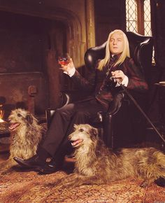 Lucius Malfoy (Jason Isaacs) - know he's a baddie, but omg, what I would give to sit by that HUGE roaring fire with a glass of wine and those gorgeous animals.
