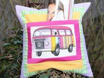 Retro-HIPPIE-Bus-Kissen mit Versteck