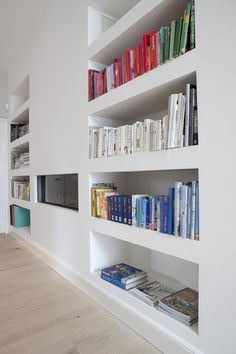 All about the built-in/flush shelving.
