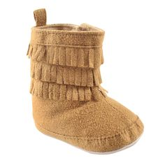 Luvable Friends Girls' Fringe Bootie Boot, Tan, 0-6 Months M US Infant. Soft soled shoe. Rubber grips on bottom. Velcro side closure.