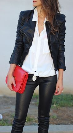 #fall #fashion / leather + red color pop