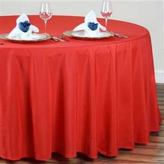 """120"""" RED Wholesale Polyester Round table"""