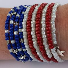 tom+alice Beaded Bracelets for Women Stackable Handcut Natural Stones 5 pcs Ermish Stretch Set Bangle – Fine Jewelry & Collectibles Memory Wire Jewelry, Memory Wire Bracelets, Handmade Bracelets, Handmade Jewelry, Beaded Jewelry, Beaded Bracelets, Embroidery Bracelets, Holiday Jewelry, Diy Jewelry Making