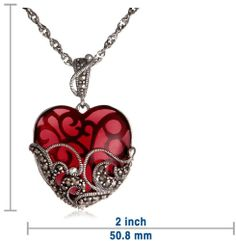 Sterling Silver Marcasite and Gemstone Colored Glass Heart Pendant Necklace, 18""
