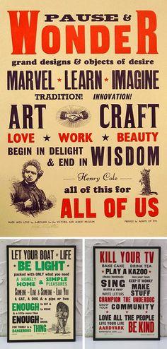 vintage letterpress posters