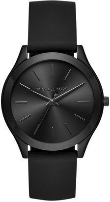 Michael Kors Michael Kors Women's Slim Runway Sporty Black Silicone Strap Watch 42mm MK2513 Only at Macy's #watches #womens