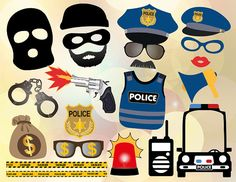 Printable Police Photo Booth Props Cops and by TracyDigitalDesign