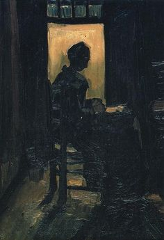 Vincent van Gogh: Peasant Woman Seated before an Open Door, Peeling Potatoes. Oil on canvas on panel. Neunen: March, 1885. Private collection.