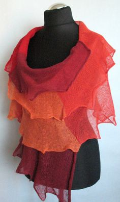 Linen Scarf Shawl Wrap Burgundy Red Orange Striped by Initasworks, $85.00