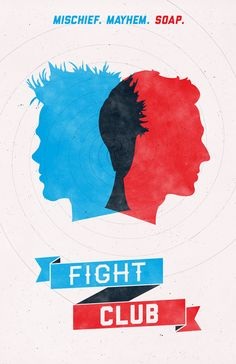 Fight Club by William Henry, Poster, Red, Blue, 3D Look, Banner, Silhouette