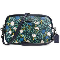 COACH Yanke Floral-Printed Coated Canvas Crossbody Bag (10,800 INR) ❤ liked on Polyvore featuring bags, handbags, shoulder bags, dark teal, crossbody purses, handbags shoulder bags, floral crossbody, floral handbags and coach shoulder bag