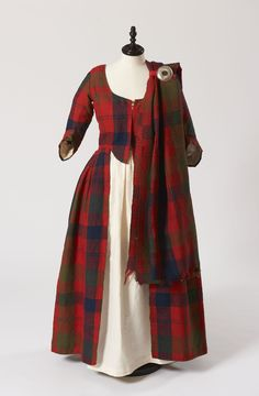 Isabella MacTavish's Wedding Dress ~ ~ Fraser clan tartan ~ Inverness Museum ~ The cloth itself is probably considerably older than the dress, and possibly dates to ~ Scotland ~ century Scottish costume. 18th Century Dress, 18th Century Clothing, 18th Century Fashion, 16th Century, Scottish Dress, Scottish Clothing, Scottish Costume, Scottish Fashion, Scottish Traditional Dress
