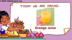 Life Skills - Kids with Autism - Orange Juice (Level Life Skills Kids, How To Make Orange, Children With Autism, Orange Juice, Activities, Learning, Cooking, Cucina, Kochen