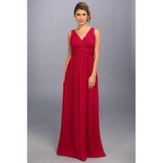 Donna Morgan Julie Bra Friendly Long Gown (Berry) Women's Dress