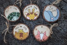 Custom Christmas Ornament - Turtle Giraffe Elephant Lion Fox - Unique Personalized Handmade Gift - Colorado Pine Wood Slice - 2018 - Babys First Christmas - foxcreekwoodcraft Custom Christmas Ornaments, Wood Ornaments, Christmas Crafts, Christmas Wood, Babys 1st Christmas, Merry Christmas And Happy New Year, Happy Holidays, Personalised Gifts Handmade, Diy Décoration