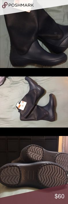 ☔️ Brand new Crocs Rain flow boots The fluid rubber shaft is soft, flexible and compressible. These are boots that won't weigh you down, and will keep you dry in style. CROCS Shoes Winter & Rain Boots