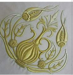 Cesni bulbul Gold Embroidery, Embroidery Designs, Hand Embroidery Tutorial, Brazilian Embroidery, Gold Work, Floral Design, Gold Necklace, Sketches, Quilts
