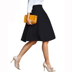 Midi Skirts Black Womens Fashion Stretch Waist Midi Skirts Pink Candy Color Skater Flared Pleated Skirts