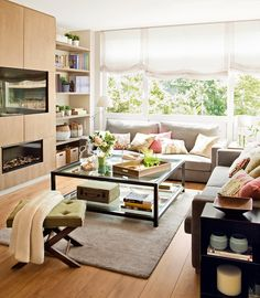 Living room with fireplace and iron and glass table Home Living Room, Interior Design Living Room, Living Room Designs, Living Room Decor, Design Interior, Sweet Home, Living Room With Fireplace, Decoration, Furniture