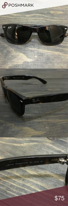 "Ray-Ban Wayfarer Sunglasses Tortoise frame glasses size 52-18. Light 1/2"" scratch on the left lens and 1/4"" scratch on the frame next to it -see photo 5. On the arms by the ear there is slight wear. I am being honest- glasses are in good condition but do have scuffing on the frame. I've tried to take photos to show it. AUTHENTIC! Cleaning cloth and case included. Case threading had come undone in one corner but is still useable and holds glasses.  Request more photos if you want to see…"