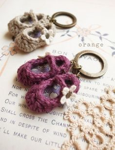 Crochet slipper keychain