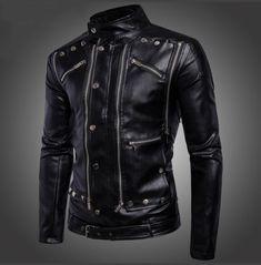 Jackets & Coats Mens Locomotive Leather Jackets Fashion Brand Coat Biker Jacket Men Homme Jaqueta Couro Masculina Pu Leather Mens Punk Veste Neither Too Hard Nor Too Soft