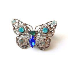 Vintage Czech Filigree Rhinestone Butterfly Broach