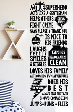 Super Hero Rules WALL DECAL by TheLovelyWall on Etsy