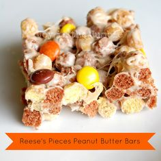 Reese's Pieces Peanut Butter Bars via- Joy in the Jumble