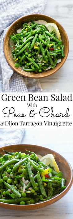 I discovered the delicate yet bold flavor of Tarragon after making this texturally rich salad. It's a favorite for picnics and holds up well in the fridge. Green Bean Salad with Peas, Chard and Dijon Tarragon Vinaigrette | Vanilla And Bean