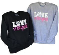 Volleyball Crewneck  Love Volleyball Hot Pink and by BADSportz1, $25.00