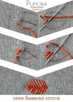 Folk Embroidery Tutorial open fishbone stitch tutorial - Learn how to embroider with the lexicon of embroidery stitches. Step by step tutorials on how to do the fishbone stitch and it's variations. Silk Ribbon Embroidery, Embroidery Applique, Cross Stitch Embroidery, Embroidery Patterns, Machine Embroidery, Stitch Patterns, Embroidery Stitches Tutorial, Embroidery Techniques, Bordado Popular