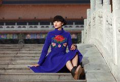 High Class Embroidery Narrow Waist Wool Long Coat